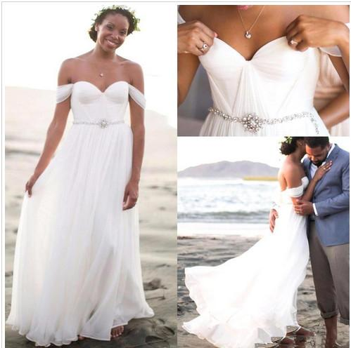South Africa 2016 2015 Summer Bohemian Wedding Beach Dresses With Sexy Beading Off Shoulder Elegant A