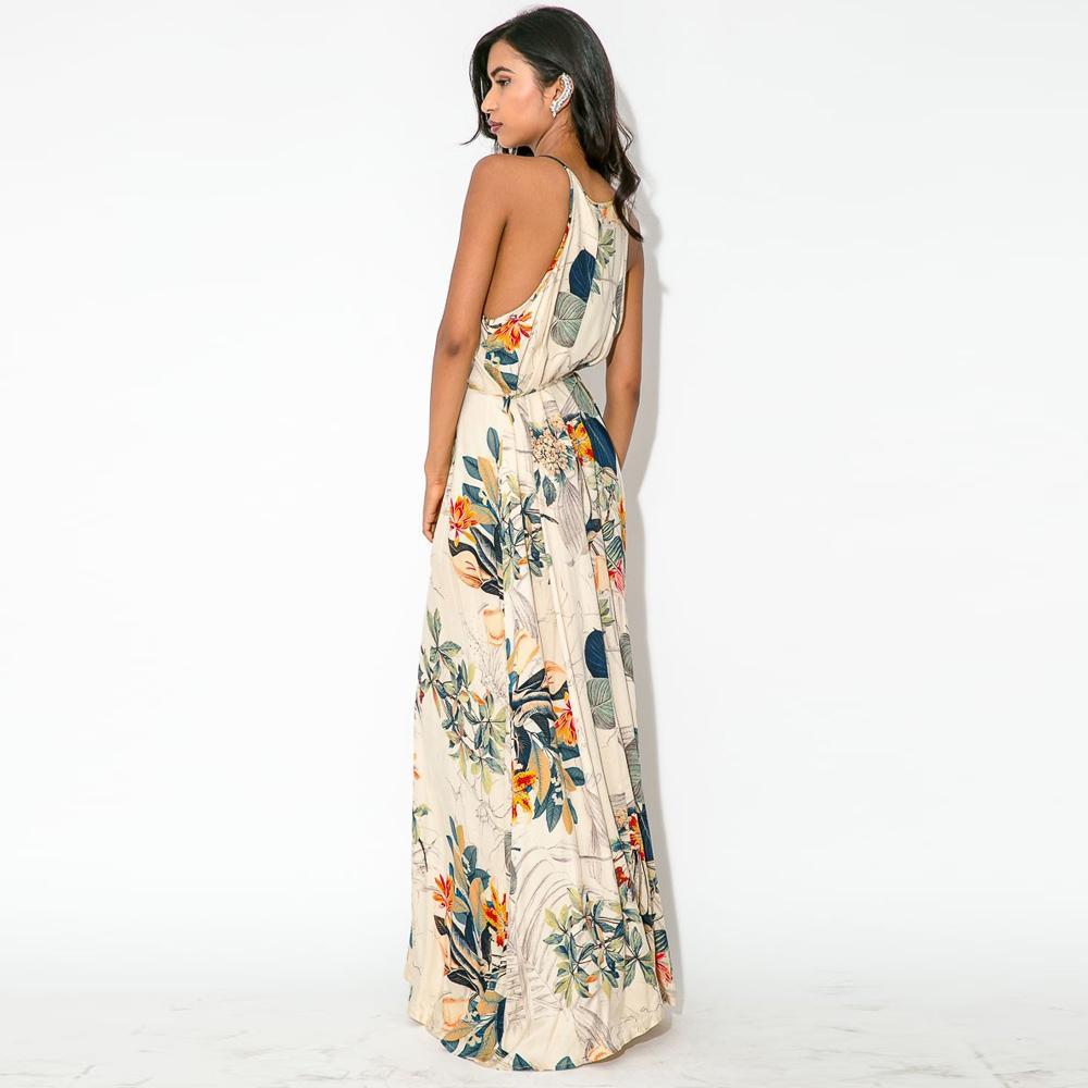 Compre 2015 Verano Maxi Dress Mujeres Beach Dress Halter O Cuello ...
