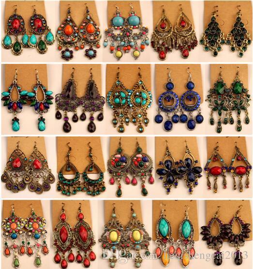 2018 Nouvelle mode Vintage Tibétain Argent / Bronze Résine Gem diamant boucles d'oreilles Bohême style bijoux mélangés 24 style 24Pairs / lot