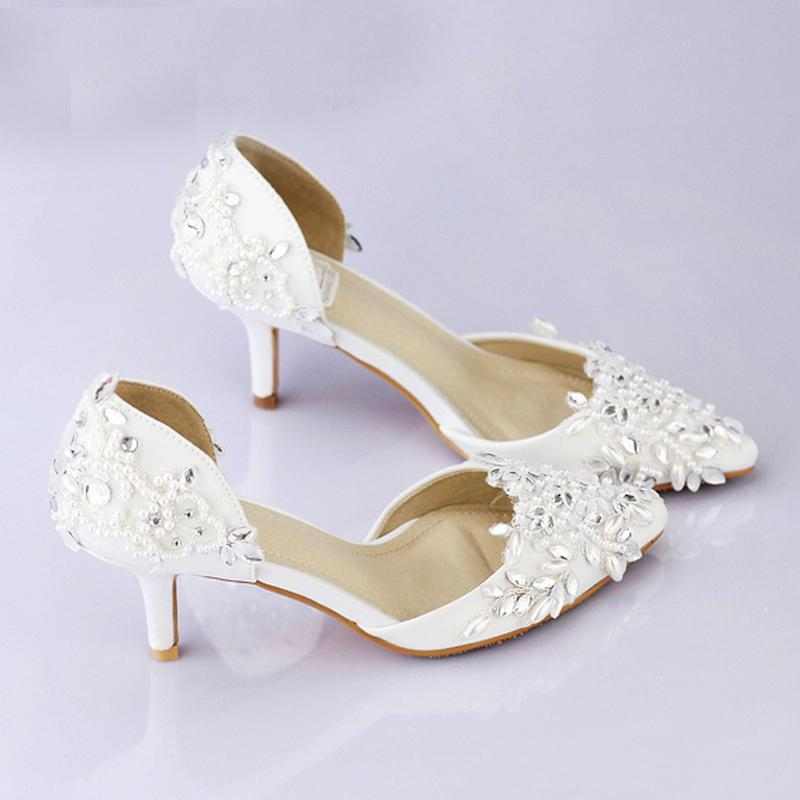 Cheap Pointed Toe Wedding Shoe Comfortable Middle Heel Bridal