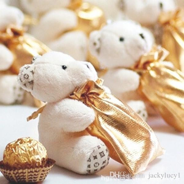 Cute Hi-Q Little Bear Haversack Candy Bag Favores de la boda Titulares Suministros Bolsa de regalo Cajas 50 sets / lot Envío gratis