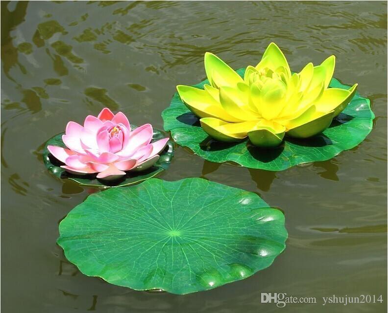 13cm 정원 홈 장식 인공 꽃 연꽃 잎 EVA 물 물고기 탱크 수영장 장식 녹색 식물 공예 악세사리 무료 배송