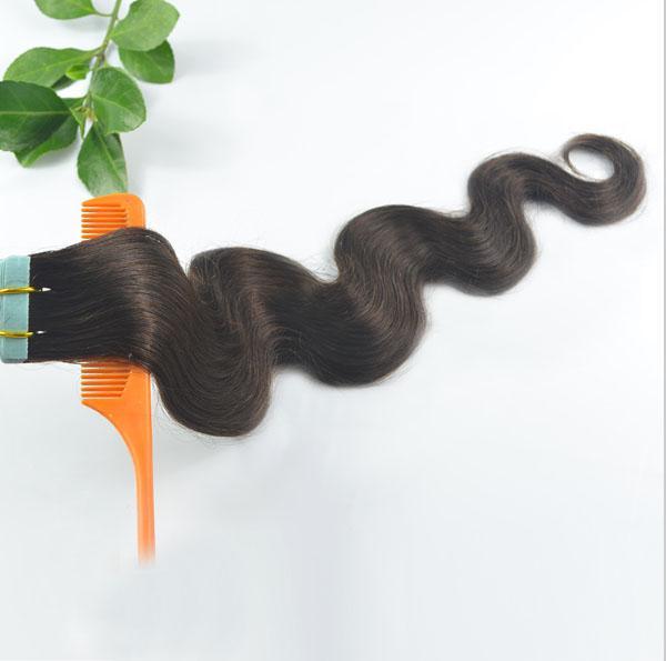 Prix usine bas, cheveux humains brésiliens vierges, 1B # Noir naturel 2.5g / pcs 50g / pack 20pcs / pack 100pcs / lot, extensions de bande de cheveux ondulés corps