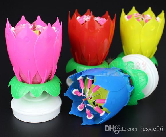 꽃이 피는 2 층 꽃잎 음악 촛불 생일 파티 로터스 스파클링 플라워 촛불 라이트 불꽃 축제 축제 용품 케이크 액세서리