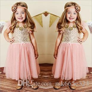 2019 Summer Kids Clothing Bébé Filles Rose Plissée Brillant Robe Sans Manches Brillant Pour Les Enfants En Gros Livraison Gratuite