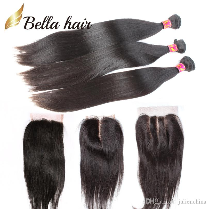 7A straight hair bundles with closure