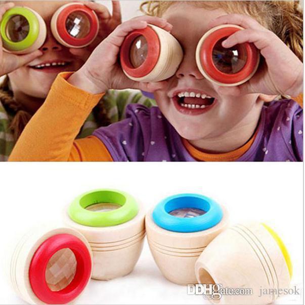 Wood Bee-eye تأثير مثير للاهتمام Magic Kaleidoscope اكتشف الطفل أطفال الأطفال تعلم لعبة تعليمية اللغز C004