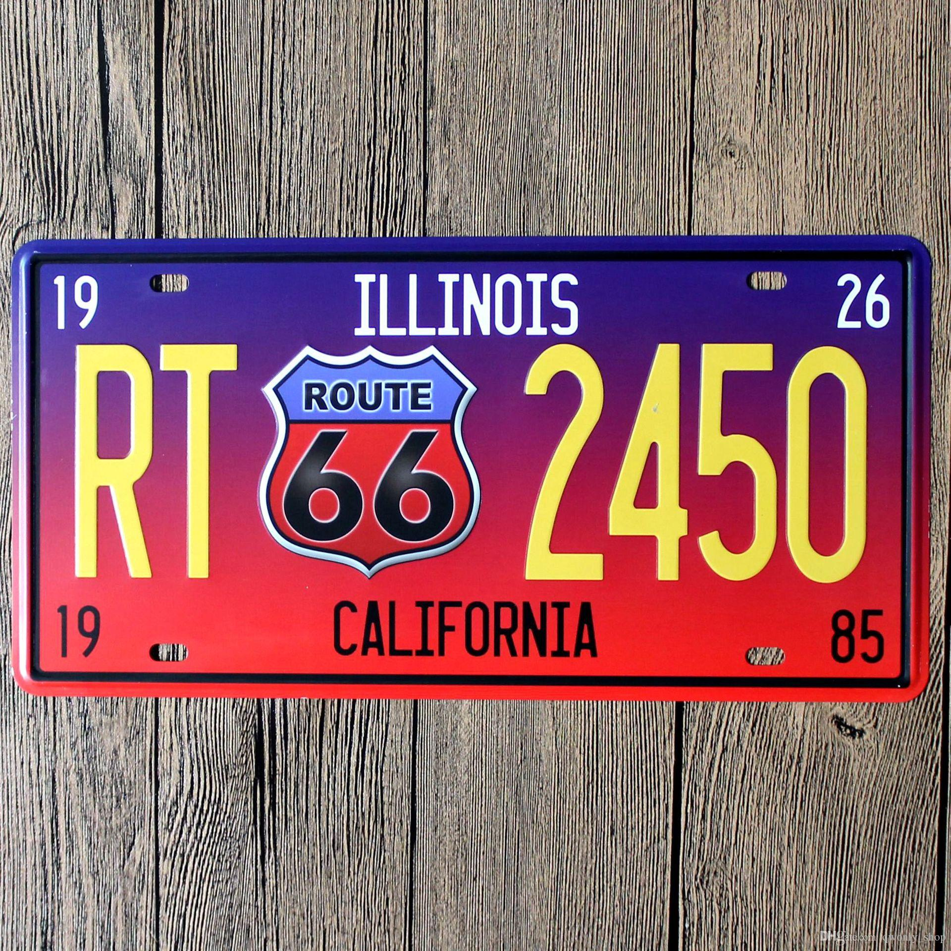 Us Route 66 Wall Decoration Vintage Metal License Plate Art Bar