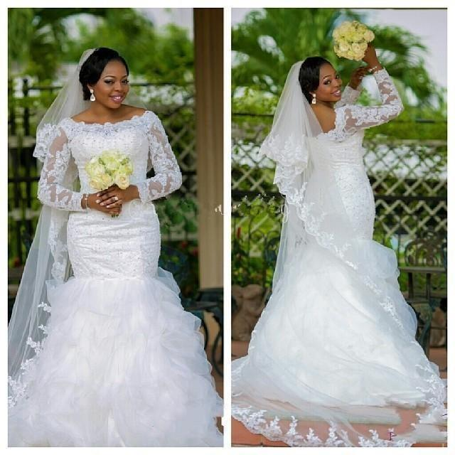 2019 plus size kant zeemeermin arabische trouwjurken bescheiden lange mouwen kralen wit Afrikaanse bruidsjurken op maat gemaakte ruches organza