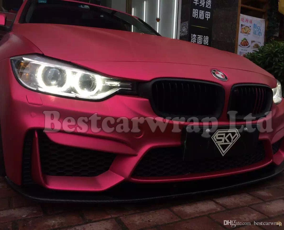 *Premium Pink Satin Chrome Matte Metallic Car Vinyl Wrap Sticker Air Release