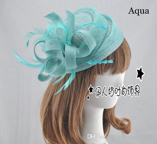 15 colori cappelli da sposa di alta qualità piccolo fiore sinamay cappelli per le donne spedizione gratuita accessori per capelli da sposa cappelli da festa piuma all'ingrosso