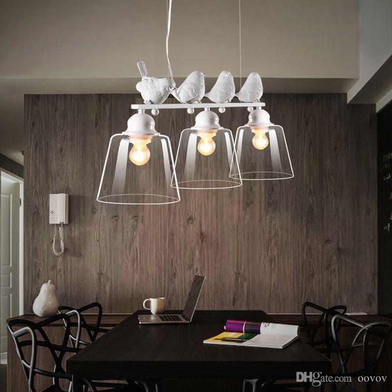 Großhandel Kreative 3 Lichter Vögel Restaurant Pendelleuchte Nordic  Arbeitszimmer Pendelleuchte Schlafzimmer Hängelampen Kronleuchter Leuchten  Von ...