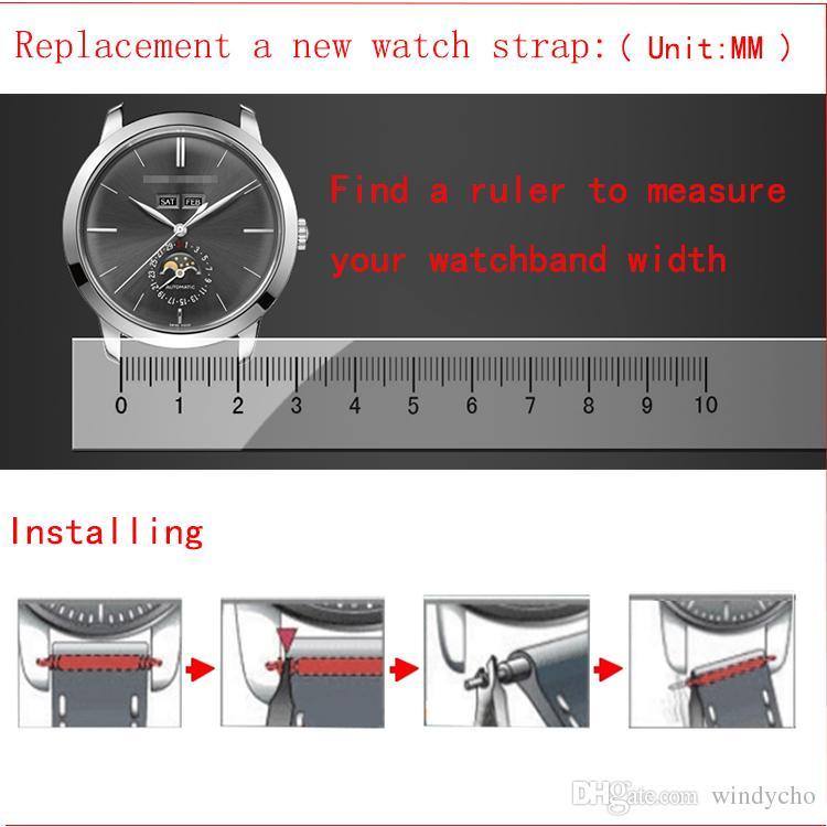 패션 시계 액세서리 블랙 스테인레스 스틸 밴드 스트랩 래디 언스 인터페이스 곡선 끝 솔리드 링크 18mm 20mm 22mm 24mm 무료 배송
