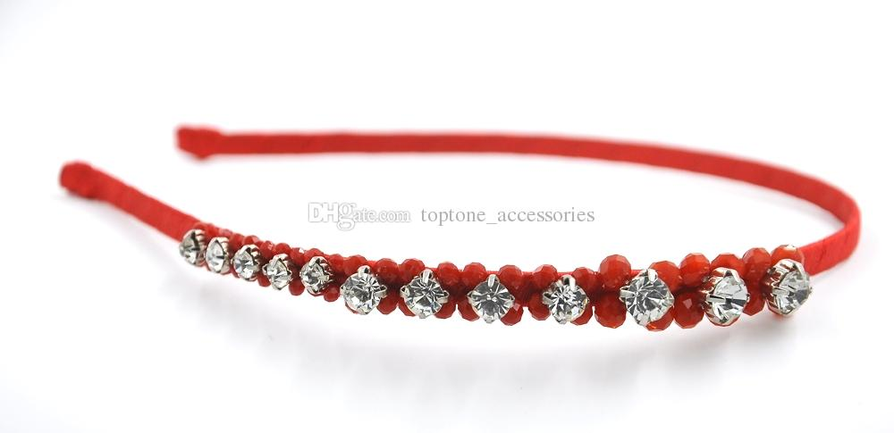 Girl Women Crystal Floral Headband with Rhinestone Red Women New Fashion Handmade Hair Accessories Hair Jewellery for Wholesale