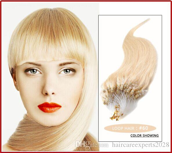 """HOT!!! - 0.8g/s 200S/lot 14""""- 24"""" Micro rings/loop Brazilian remy Human Hair Extensions hair extention, #60 platinum blonde"""