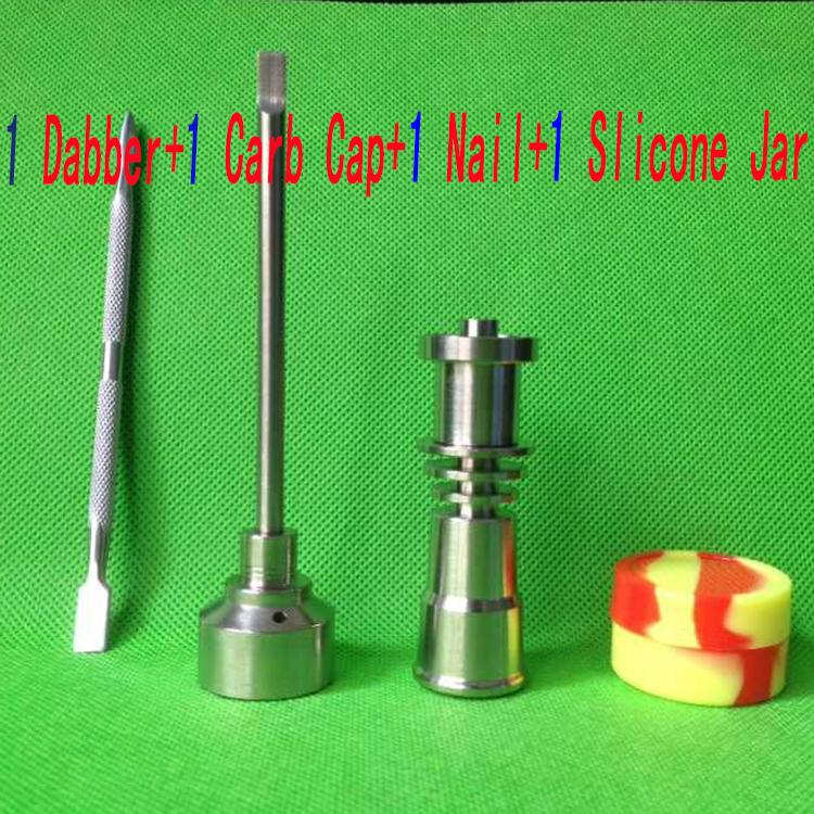 Set di strumenti per bong 16mm Domeless Gr2 Titanium Nail Carb Cap Dabber Slicone Jar Bong Tubi per acqua da fumo