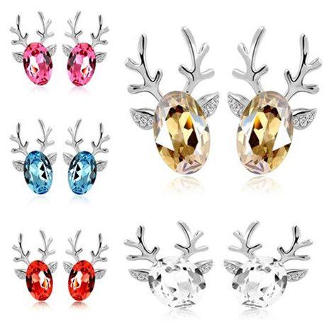 Мода серьги симпатичные оленьи рога серьги Стад лучший рождественский подарок высокое качество кристалл 7 цветов хороший серьги бесплатная доставка
