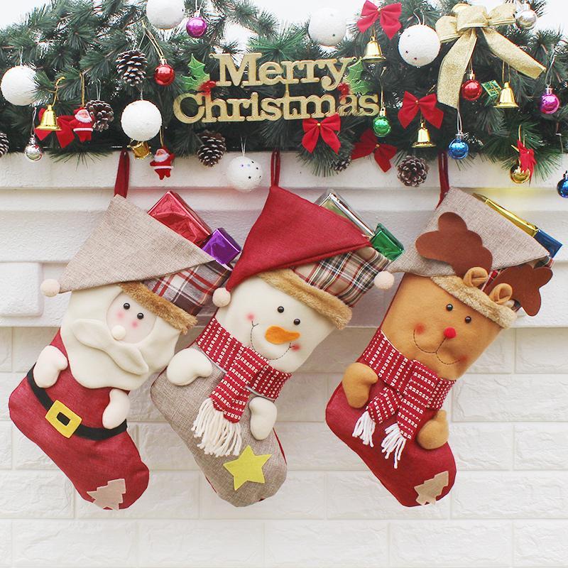 Geschenk für neues Jahr 2017 Weihnachtsdekor-Partei-Dekorationen Weihnachtsmann-Weihnachtsstrumpf-Süßigkeits-Socken-Weihnachtsgeschenk-Tasche für Haus