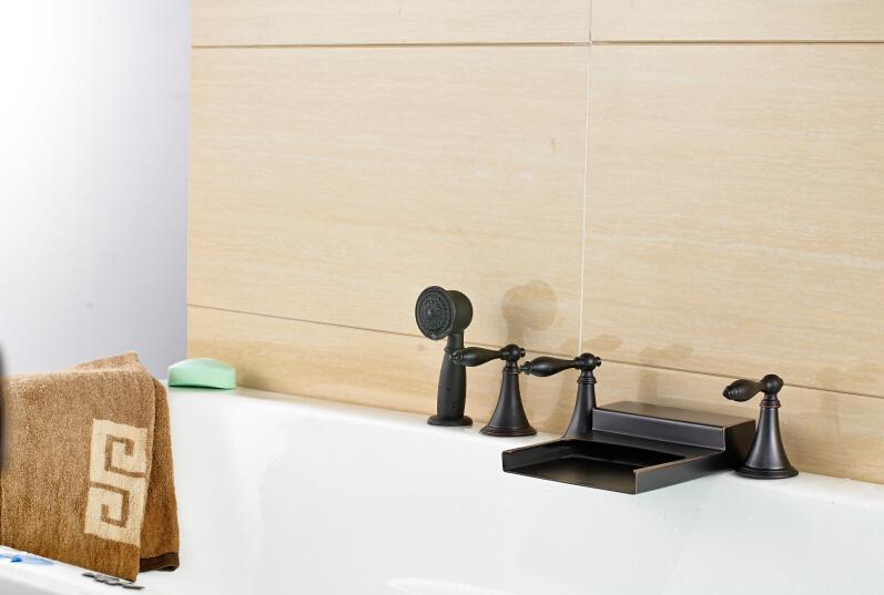 Nowy wodospad Oil nacierany Brązowy Wanna Kran 3 Uchwyt Mikser w / Handheld Prysznic