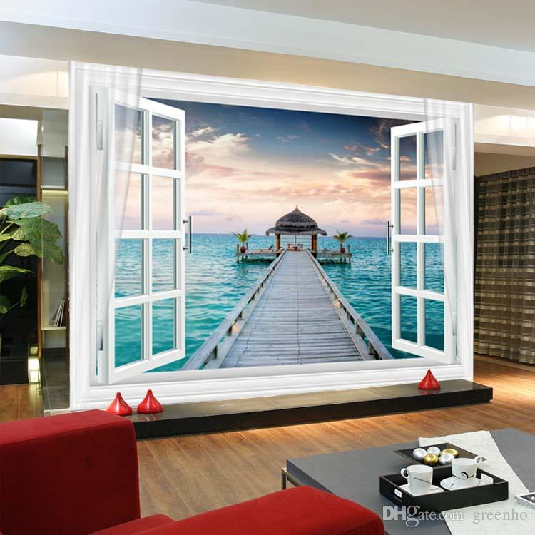 Window 3D Maldives Large Ocean View Wall Stickers art Mural Decal Wallpaper Living Bedroom Hallway Childrens Rooms free shipping