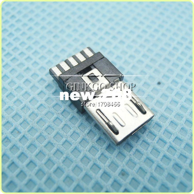 1000pcs/lot Wholesale Micro USB 5P plug Soldering wire, Micro USB 5Pin Connector Tail Charging male plug