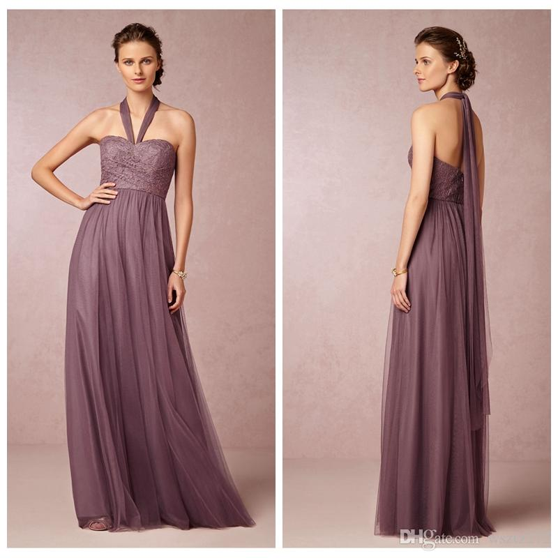 Compre Sage Convertible Vestido De Dama De Honor Vestido De Tul ...