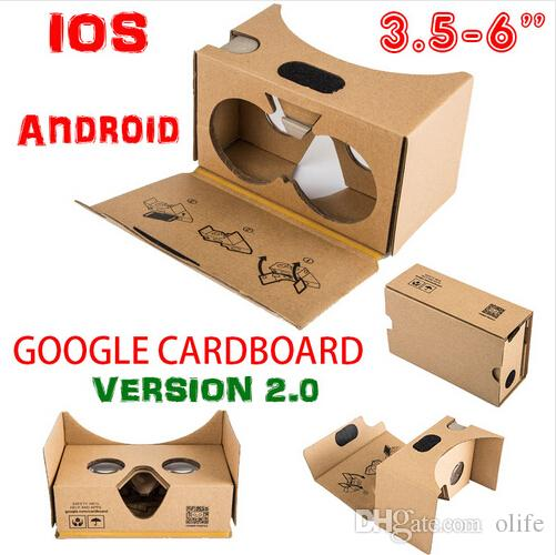 Mais novo Google Cardboard 2.0 V2 3D Óculos Vr Vorn Valencia Qualidade máxima Fit 6 polegadas para smartphone iOS Android iphone 6 6 s mais 5s s6 borda DHL