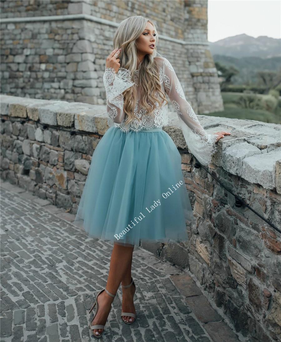 Elegant Short Prom Dresses Long Sleeve Knee Length Lace Top Tulle ...