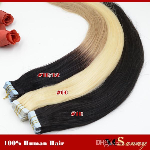 """XCSUNNY 18 """"20"""" Bande Dans Ombre Extensions De Cheveux Bande Extension De Cheveux 40 Pièces 100g 100% Remy Malaisien Bande De Cheveux Humains En Extension"""