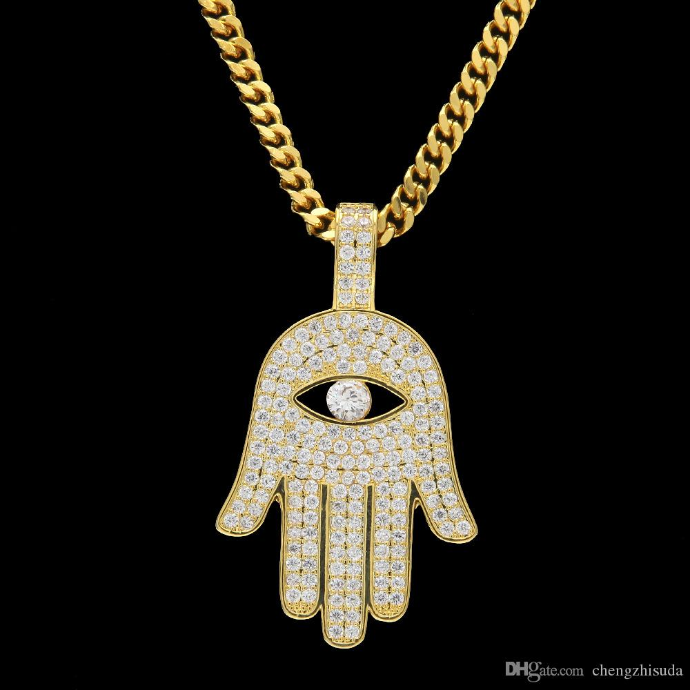 Copper Hamsa Hand Pendant Necklace Micro Pave Cubic Zircon Fatima Palm Necklace Hip Hop Mens Women Jewelry Drop Shipping