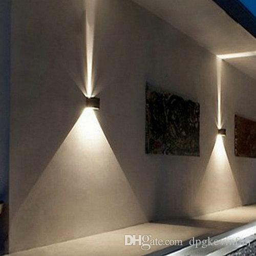 LED 12w 야외 벽 조명 최대 IP65 방수 화이트 블랙 현대 Sconce 벽 비품 램프 220V 110V 외관 홈 조명