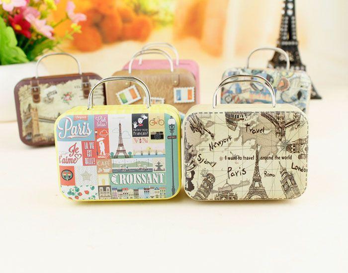 20pcs rétro valise boîte de bonbons amour doux cadeau de fête de mariage bijoux plaque d'étain boîtes Mix 6 Style New