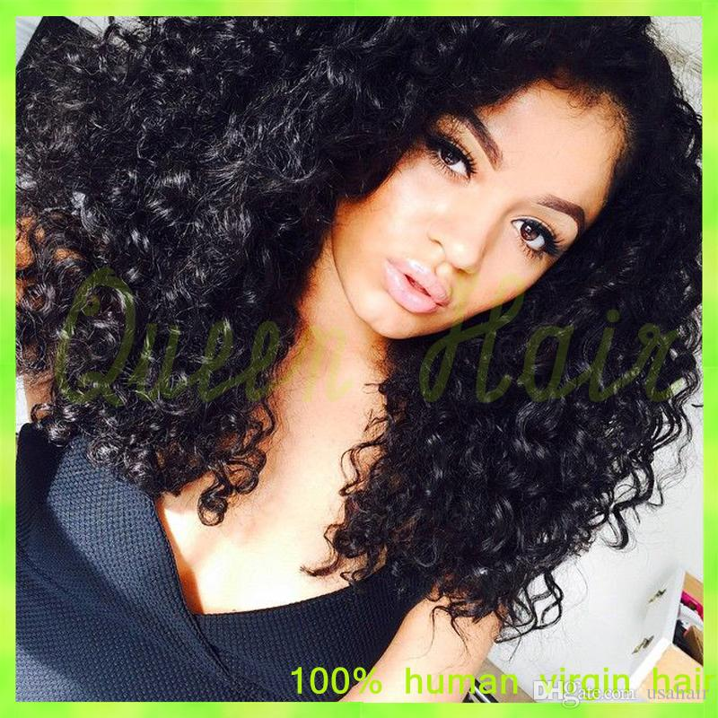 Best Quality Full Lace Human Hair Wigs Kinky Curl Brazilian Virgin Hair Lace Front Human Hair Wig With Baby Hair Free Shipping