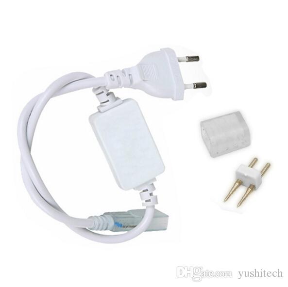 DHL Free 220V110V SMD5050 5630 3528 Connecteur de bande LED flexible (prise de courant) Fiche étanche U.S./EU pour ruban adhésif