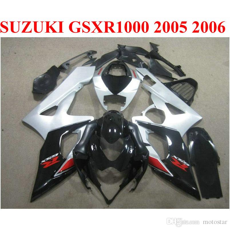Настроить мотоцикл частей для SUZUKI GSXR1000 2005 2006 обтекатель комплект K5 K6 05 06 GSXR 1000 черный серебряный ABS обтекатели набор EF64