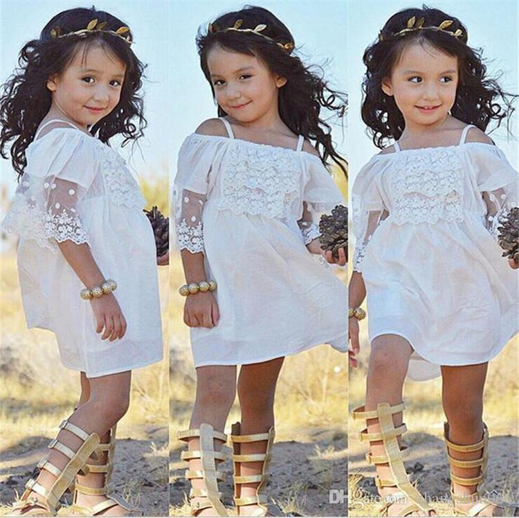 Compre 2018 Vestidos De Bebé Para Niñas Ropa De Encaje Blanco Niño Princesa Vestido De Verano Lana Suspender Algodón Sundress Boutique Ropa A 724
