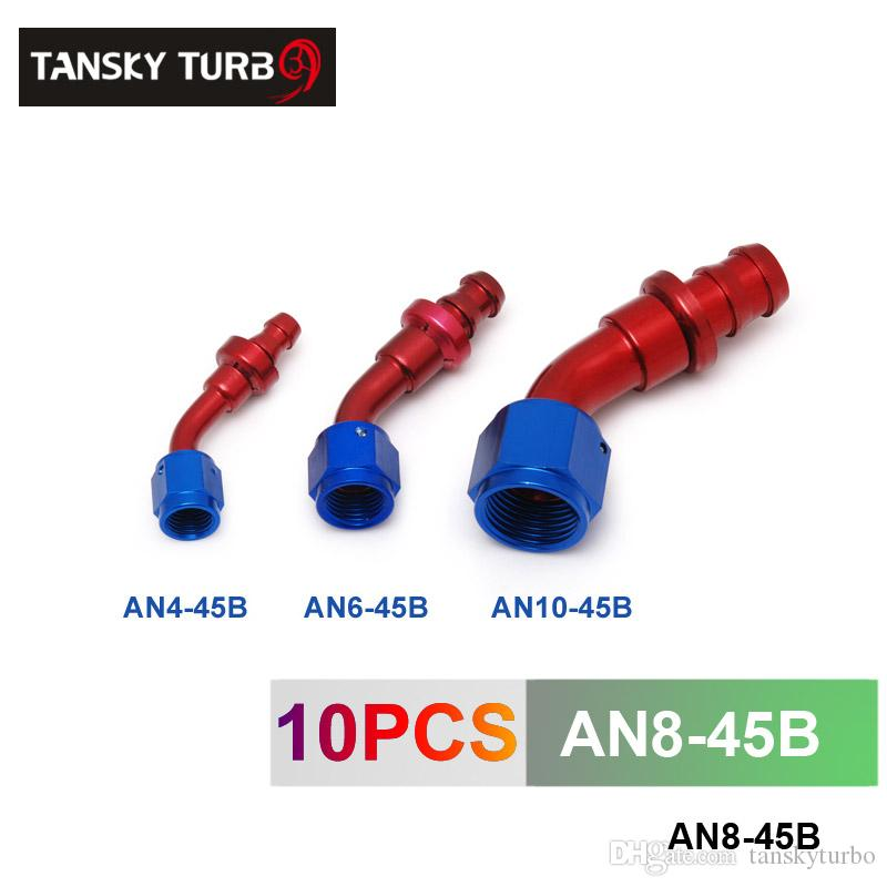 TANSKY - 8AN AN8 8-AN 45 Degree SWIVEL OIL/FUEL/GAS LINE HOSE END PUSH-ON MALE FITTING AN8-45B