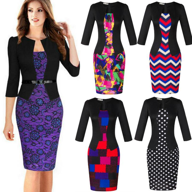 2019 Hot Fashion Sexy Office Lady Pencil Dresses Women Business Attire Patchwork Three Quarter Sleeve Lace Slim Plus Size Work Dress Xxxl From