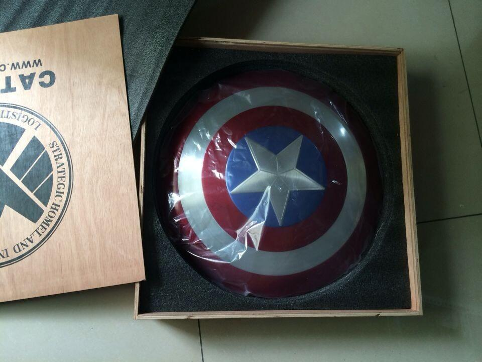 2019 The Avengers Full Metal 1 1 Captain America Shield Aluminum Wooden Packaging Diameter 57cm Cosplay Toys Model 220777645h From Queenbeauty