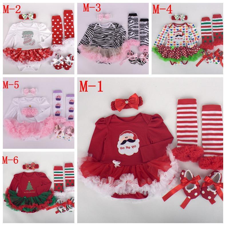 Dziecko Zebra Tutu Pajacyki Sukienka Set Sukienka Boże Narodzenie Romper Sukienka + Baby Ruffles LegWarmer + Bawełniane Buty Walkingowe + Dziewczyna szydełkowe Opaski