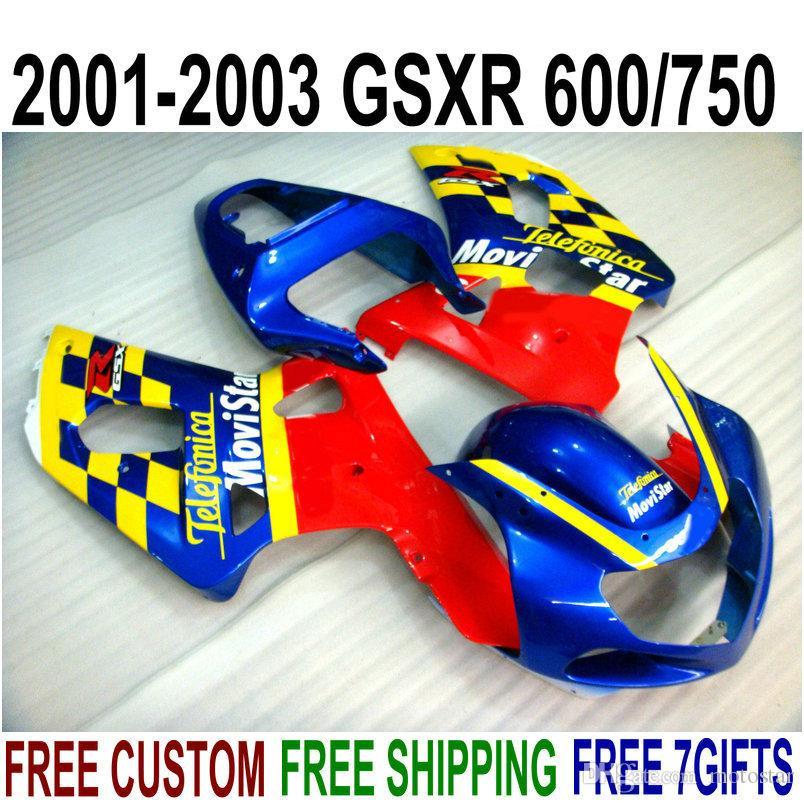 ABS full fairing kit for SUZUKI GSX-R600 GSX-R750 2001-2003 K1 GSXR 600 750 blue red Movistar plastic fairings set 01-03 RA17
