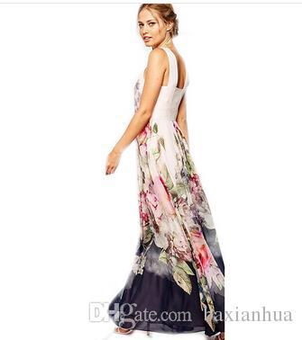 الجملة -2020 النساء الشيفون أكمام فستان ماكسي بوهو الصيف الطويل الأزهار حزب اللباس فستان الشمس زائد الحجم