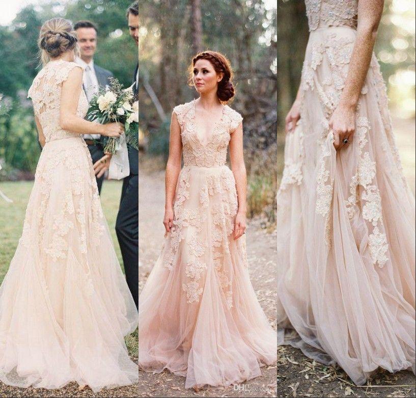 Discount Vintage Wedding Dresses Cap Sleeve Lace 2017 Champagne Ruffles Beach Wedding Gowns Deep V Neck Reem Acra Bridal Gowns Wedding Dress Designer