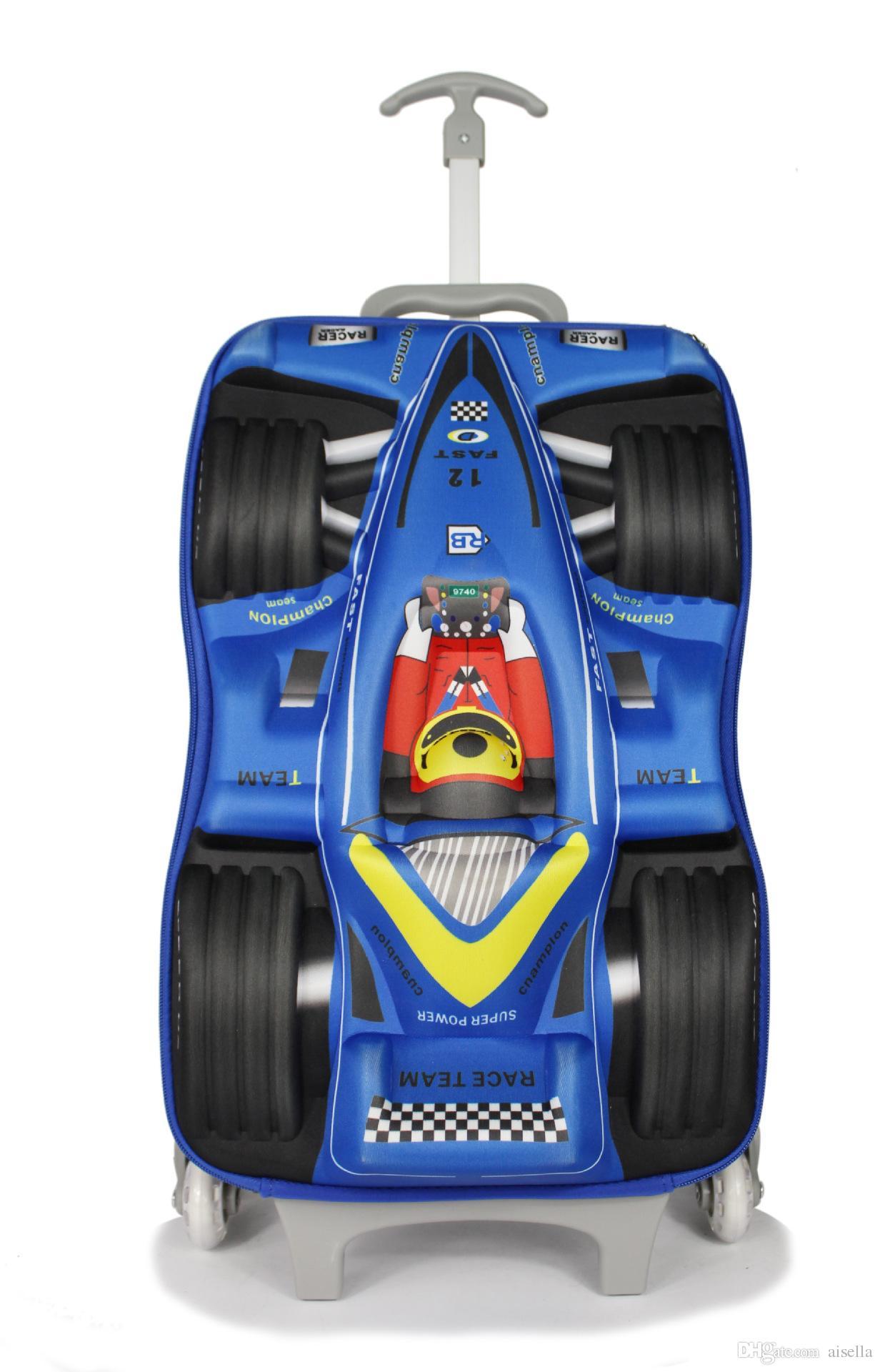 Car EVA 3D Children Trolley School Bag For Boy Racing Cartoon Travel Bags Luggage Kids
