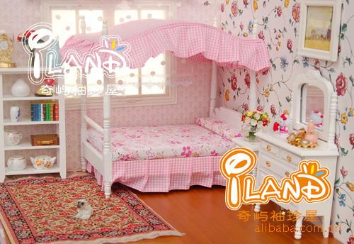 1:12 Miniature Doll House Set Wooden Furniture Accessories Mini Pink  Princess Bedroom Furniture Bed + 2 Cabinet Dollhouse Toy Boy Doll  Accessories ...