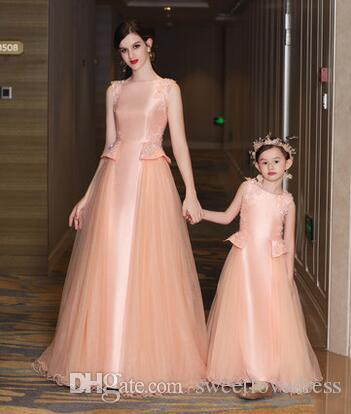 2017 new fashion mother and daughter prom dresses satin tulle plum jewel bead lace applique celebrite prom dresses