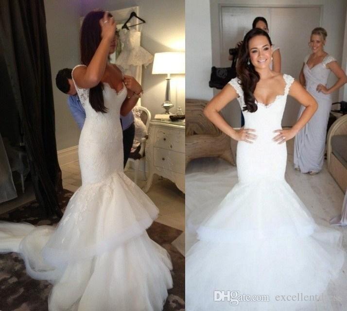 2015 Mermaid Wedding Dress Steven Khalil Designer Sheer White French ...