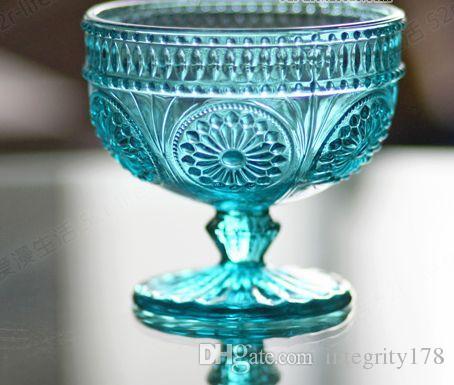 4色ザッカヨーロッパスタイルのレトロな彫刻ガラス太陽の花デザートガラスサラダボウルアイスクリームツール