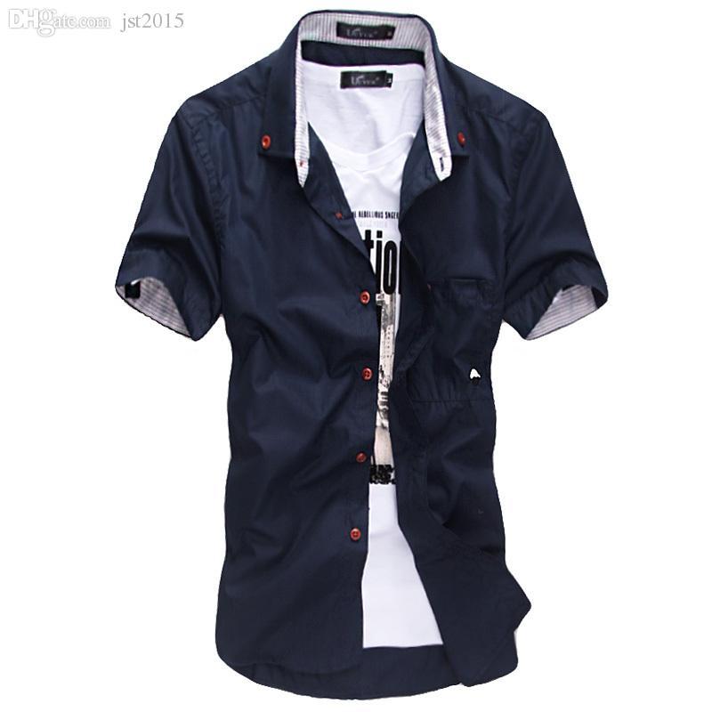 Atacado-O novo verão Estilo dos homens camisa estilo vestido listras bordadas hit cogumelo cor cultivando de manga curta O Design de Moda