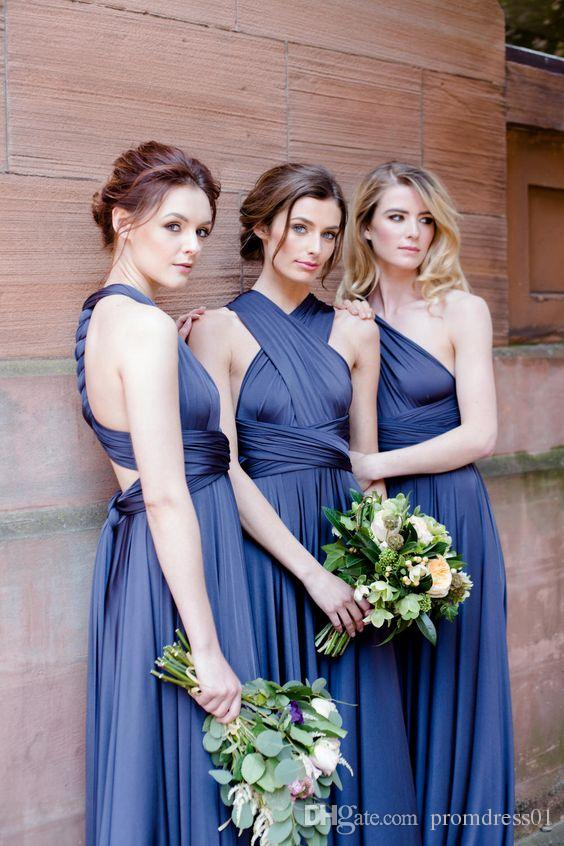 NEW ARRIVA Chiffon A-Line Royal Blue Sweep Train Bridesmaid Dresses Convertible Dresses In Stock for Wedding Party